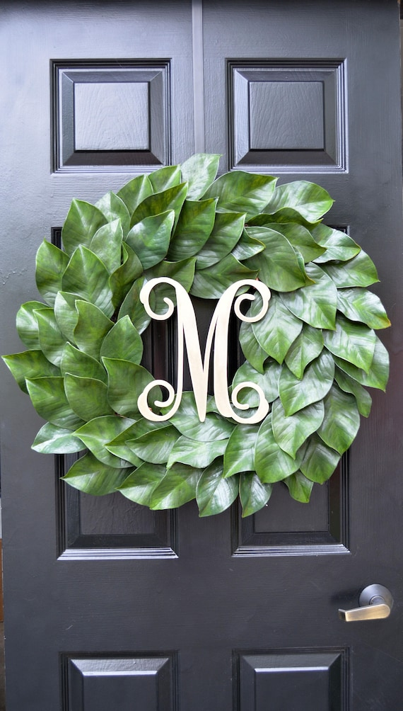 Weatherproof Monogramed Magnolia Wreath, Magnolia Leaves Door Wreath, Fixer Upper Southern Decor Year Round Wreath Southern Gift for Her