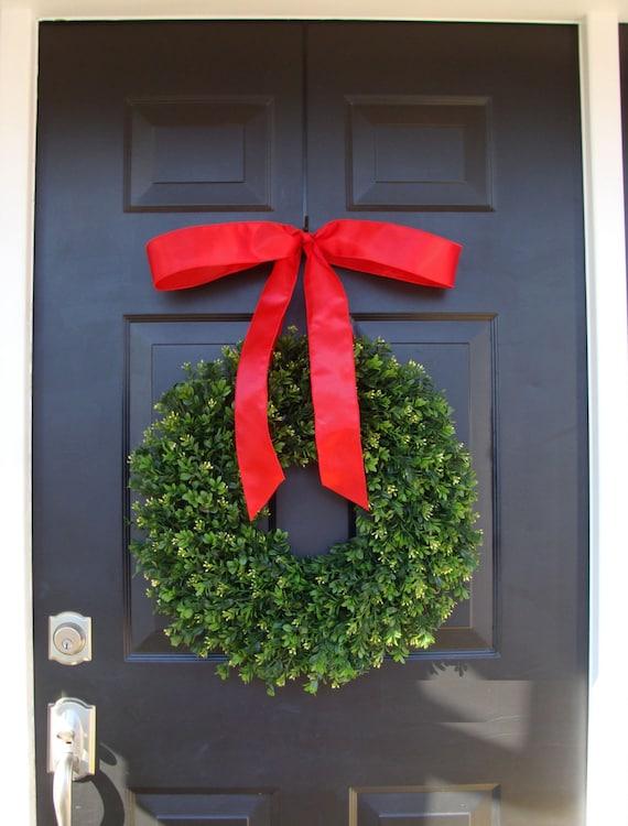 Realistic Artificial Boxwood Christmas Wreath- Outdoor Christmas Decor- Holiday Wedding Wreath- Wedding Decor- Ready to Ship