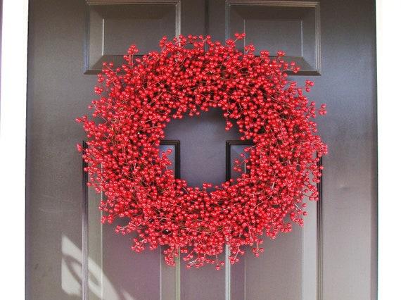 Berry Wreath, Valentine's Day Wreath, Year Round Wreath, Holiday Decor, Red Wreath, Wedding Wreath 22 inch,