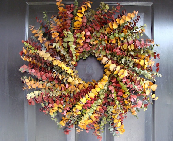 Fall Wreath- Fall Colors Preserved Eucalyptus Dried Floral Wreath