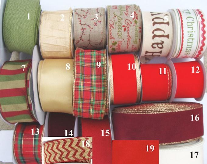 Christmas Ribbon By the Yard, Designer Ribbon for Bows, Wreaths, Christmas Decor, Christmas Decoration 2 1/2 inch Wired Ribbon