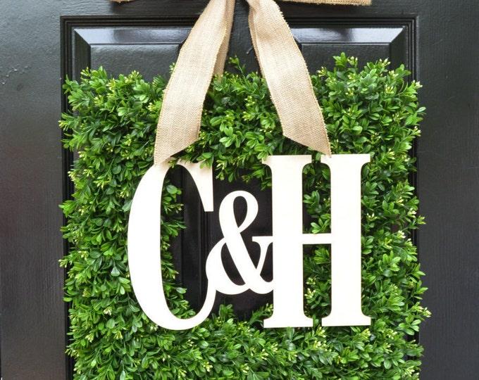 Custom Monogram Square Boxwood Wreath, Fall Boxwood Monogram Wreaths, Outdoor Door Wreath, Housewarming Gift, Wedding Wreath 20 INCH shown