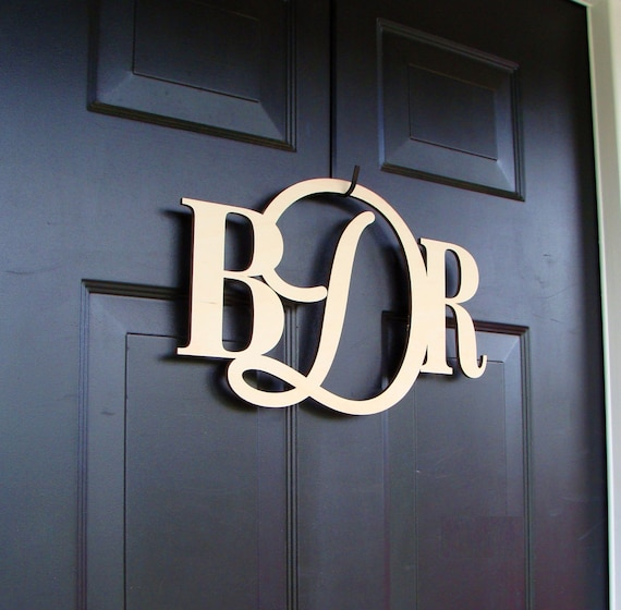 Custom PAINTED Connected Monogram Letters, Wood Monogram Wreath Accessory Door Hanging Wedding Gift Wedding Monogram Couples Monogram