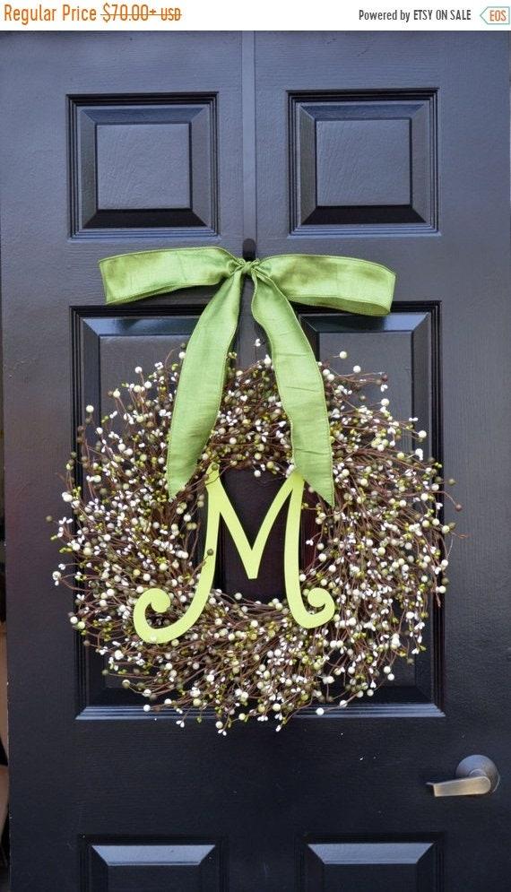 SUMMER WREATH SALE Berry St. Patrick's Day Wreath, St. Patrick's Day Decor, Green Berry Wreath, Monogram Door Wreath, Shamrock Wreath