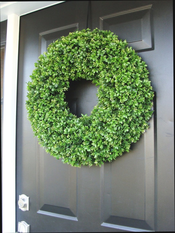 Outdoor Wedding Wreath- XXL Faux Boxwood Wreath- Wedding Decor- Church Door Decor- Reception Decor