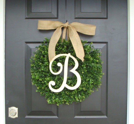 Monogram Boxwood Wreath, Boxwood Monogram Wreath with Burlap Bow, Housewarming Gift, Wedding Wreath 20 INCH  Shown