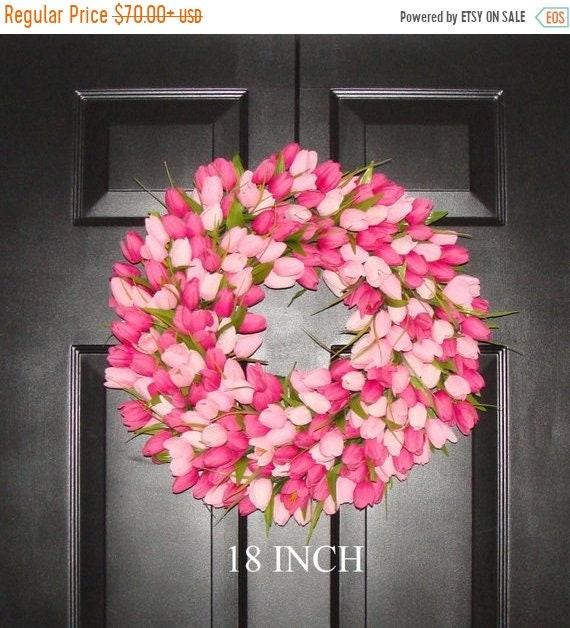 SUMMER WREATH SALE Spring Wreath- Pink Mini Tulip Spring Wreath- Front Door Wreath for Spring
