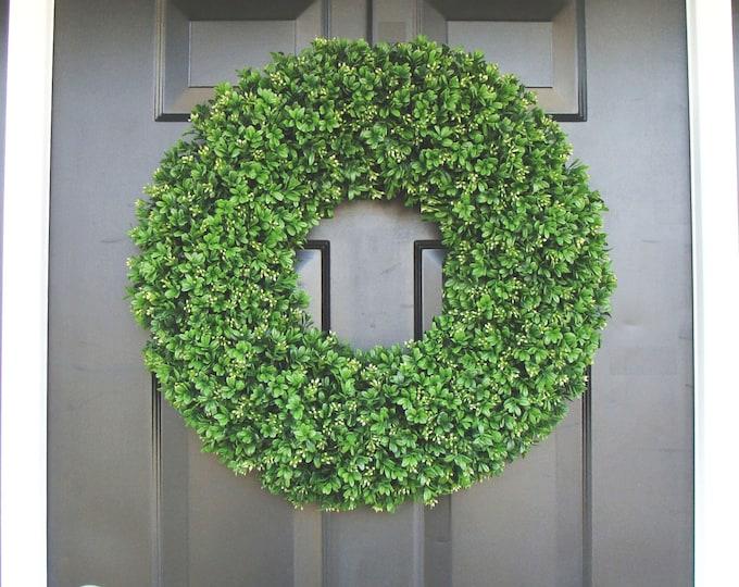 Year Round Wreath, Front Door Decor, Outdoor Boxwood Wreath, Room Decor, Wall Decor, XL 24 Inch