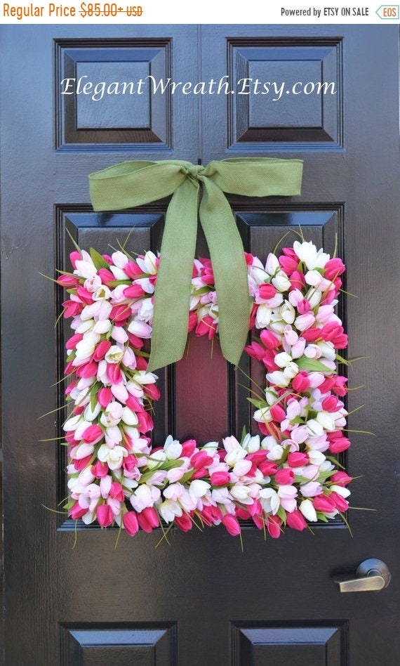 SUMMER WREATH SALE Pink Tulip Square Spring Wreath- Door Wreath- Easter Wreath- Tulip Wreath- 20 inch shown, custom colors- The Original Tul