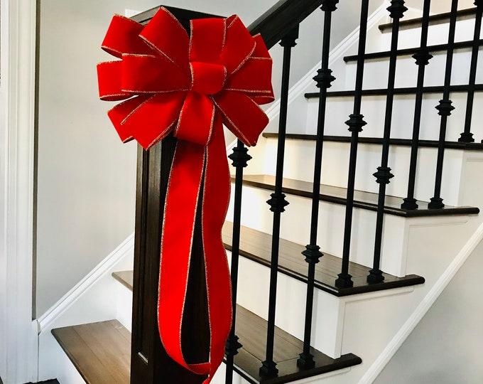 Christmas Bow, Christmas Bow for Wreath Handmade Outdoor Weatherproof Velvet Satin Christmas Bow Mailbox Bow, Christmas Decoration Fence Bow