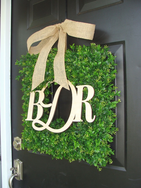 Wedding Wreath Decoration, Wedding Decor, Church, Reception Decor , Couples Monogram Boxwood Wreath, Wedding Gift, Door Wreath
