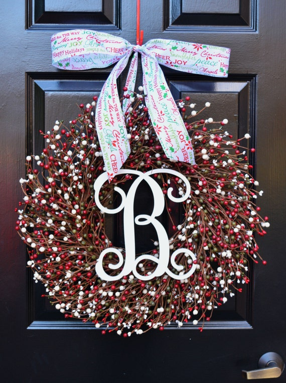 Winter Wreath- Door Wreath- Christmas Wreath- Red Green White Wreath- Christmas Decor- Winter Decorations- Winter Decor- Ready to Ship