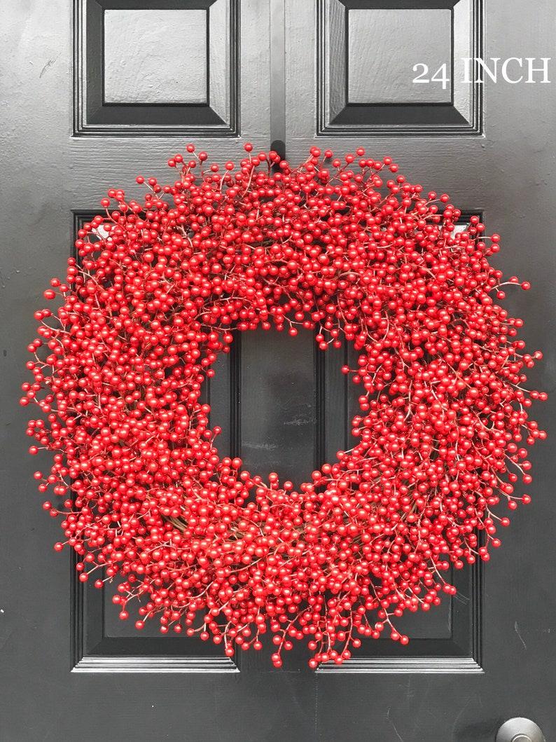 Winter Wreath Christmas WreathFront Door Window Red Berry image 1