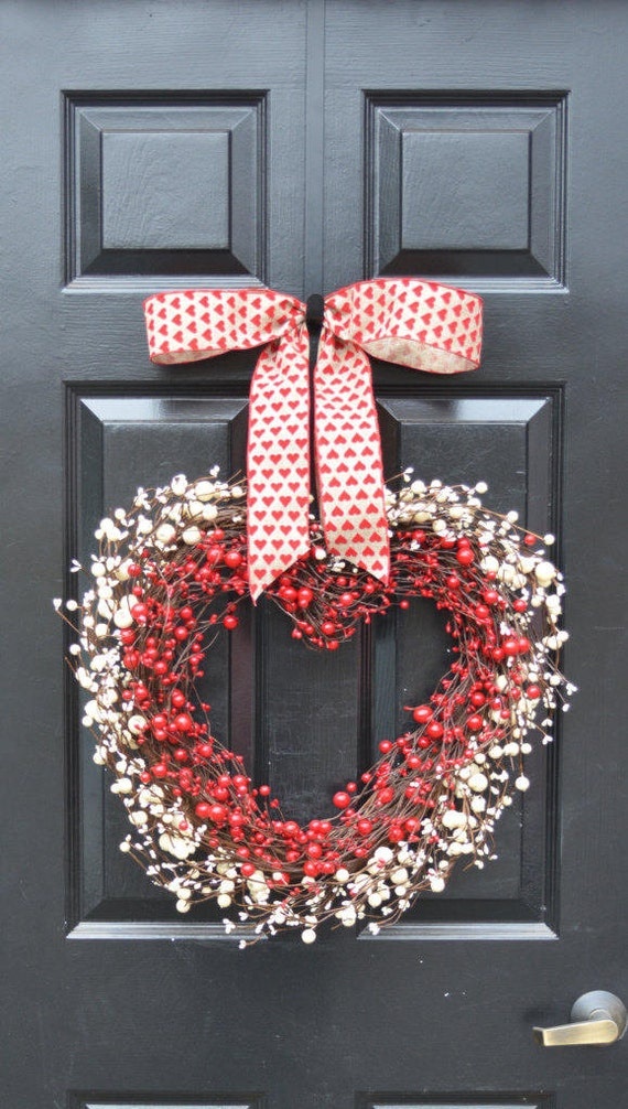 QUICK SHIP Valentine's Heart Wreath- Berry Wreath- Valentine's Decor- Wedding Gift Decorations- Valentines Day- Heart Shaped Decoration