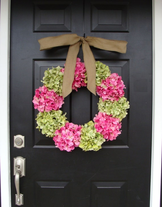 Custom Hydrangea Wreath- Summer Wreath- Spring Wreath- Choose your ribbon and Hydrangea colors