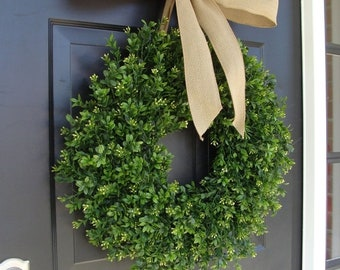 SUMMER WREATH SALE Thin Boxwood Wreath- Spring Wreath- Year Round Wreath- Door Wreath- Wreath for Storm Door- Wreath for Storm Door, Outdoor