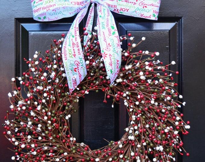 Christmas Wreath- Berry Red Green Cream Door Wreath- Winter Wreath- Christmas Decor- Winter Decor- Christmas Decoration- Berry Wreaths