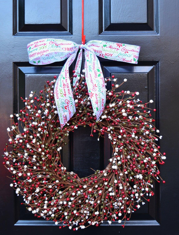 Christmas Wreath Red Green Cream Door Wreath Winter