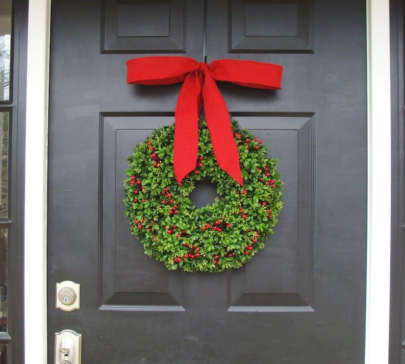 Boxwood Wreath Berry Wreath Winter Wreath Christmas Berries Boxwood Holiday Wreath Christmas Wreath Designer Ribbon