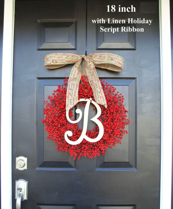 Monogram Red Berry Wreath- Fall Wreath- Christmas Wreath- Holiday Wreath- Monogram Wreath