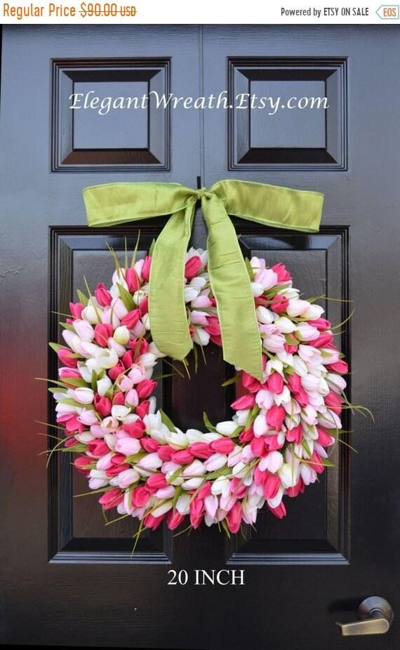 SUMMER WREATH SALE Spring Wreath- Tulip Wreath- Spring Decor- Pretty in Pink- Outdoor Wreath- Spring Wreaths- Pink Tulips