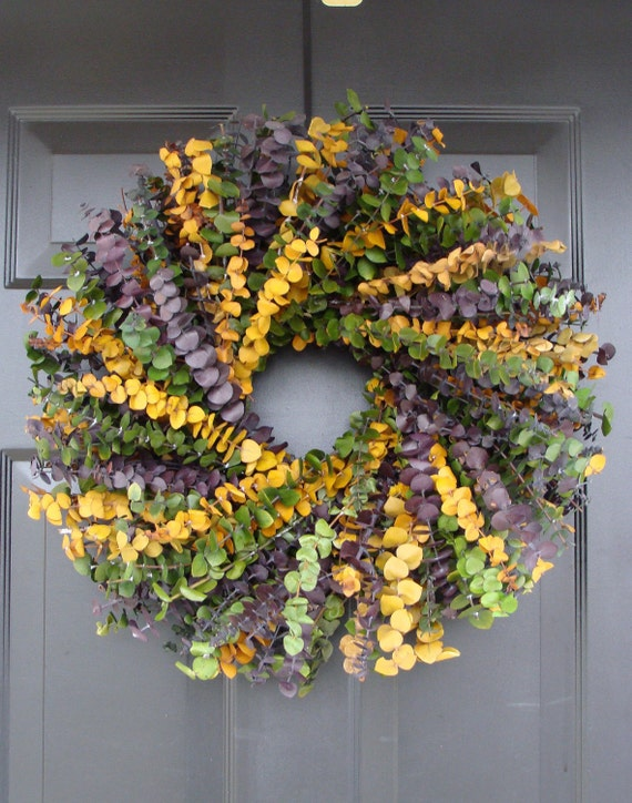 Spring Wreath- Mardi Gras Wreath- Spring Decor- Year Round Wreath- Eucalyptus Wreath-Dried Floral