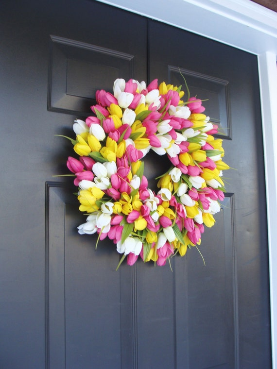 Silk THIN Spring Tulip Wreath, Storm Door Wreaths, Front Door Outdoor Wreath,  Front Door Spring Decor Sizes 14-24 inch