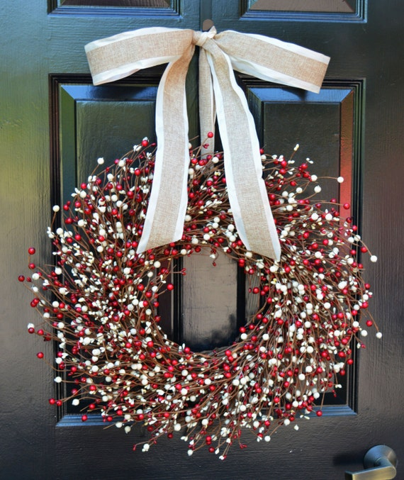 Berry Wreath- Red and Cream Door Wreath- Fall Wreath- Wedding Wreath- Christmas Wreath- Fall Decor- Winter Decor- Year Round Decoration