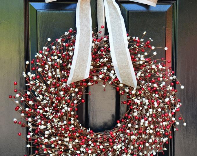 Valentine's Day Berry Wreath- Red and Cream Door Wreath- Fall Wreath- Wedding- Christmas Wreath- Fall Winter Decor- Year Round Decoration
