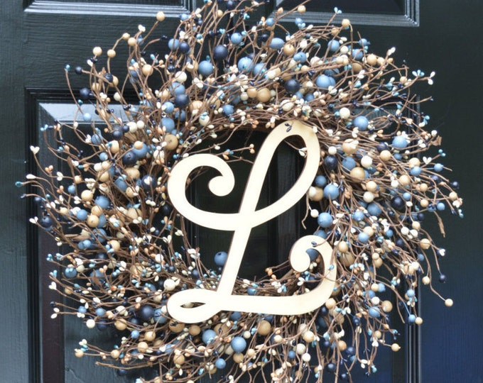 NEW Year Round Berry Wreath, Berry Monogram Wreath, Shabby Chic Decor, New England Decor, Blue and Tan Wreath, Rustic Decor, Door Wreath