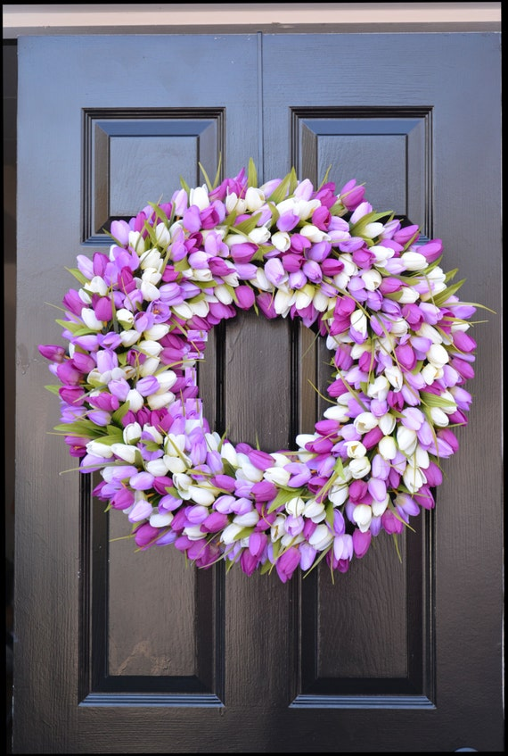 Spring Wreaths- Lavender Wreath- Mother's Day Gift- Spring Decor- Easter Wreath- Easter Decor- Wedding Wreath- Gift for Mom 22 inch wreath