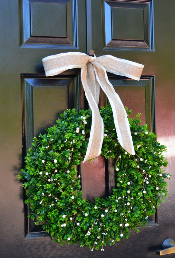 Boxwood Berry Wreath- Cream Berry Wreath, Year Round Wreaths, Wedding Decoration, Spring Wreath, Summer Wreath, Door Wreath, Home Decor