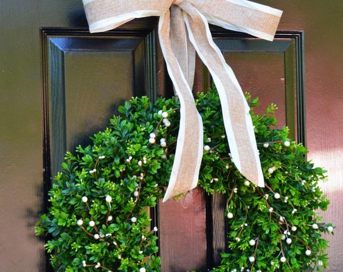 Boxwood Berry Wreath- Cream Berry Wreath, Year Round Wreaths, Wedding Decoration, Spring Wreath, Summer Wreath, Door Wreath, Home Decor