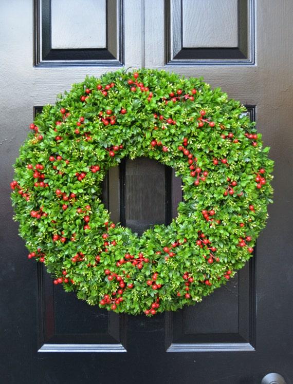 Berry Boxwood Christmas Wreath- Holiday Wreath-Berry Door Wreath- Weatherproof Berry Boxwood Winter Wreath-Christmas Decor-Everygreen Wreath