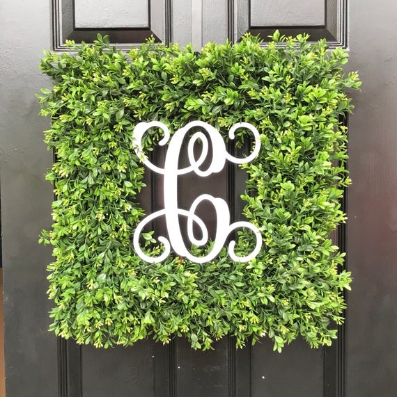 Custom Painted Monogram Artificial Boxwood Wreath, Square or Round, Christmas Wreath, Fall Decor, As seen on the TODAY SHOW