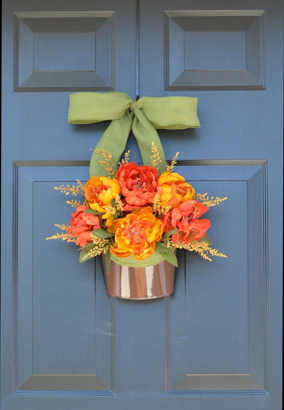 Bucket of Peonies Fall Wreaths- Fall Peonies Door Wreath Alternative- Outdoor Decor- Thanksgiving Wreath- Fall Decor- Year Round Wreath