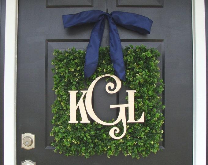 Boxwood Wood Monogram Wreath- Monogram Boxwood Wreath- Wedding Wreath- Wedding Decor- Couples Wood Monogram- Front Door Wreath 18-24 inches