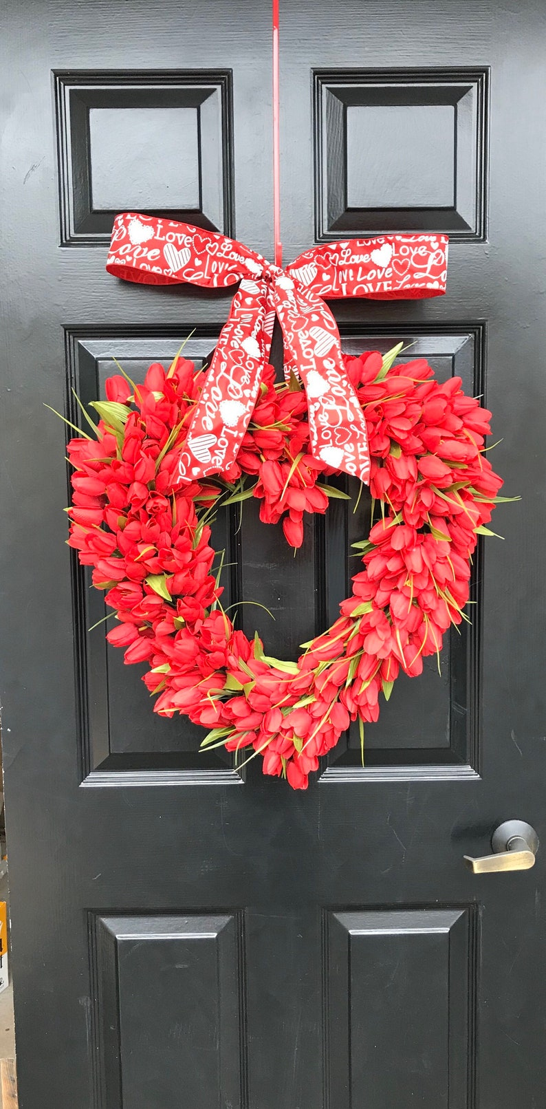 XL Red Tulip Heart Wreath  Valentine's Day Wreath  Heart image 1