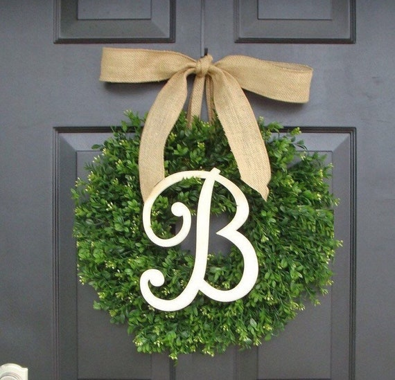 Faux Boxwood Wreath, Monogram Spring Wreath, Outdoor Door Hanging, Fall Wreaths, Spring Decor, Boxwood with Burlap Bow