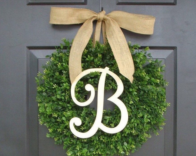BESTSELLING Outdoor Faux Boxwood Wreath, Monogram Spring Summer Wreath, Outdoor Front Door Hanging, Fall Wreaths, Spring Decor, Year Round
