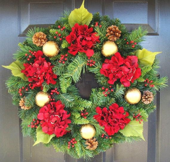 Holiday Gift, Christmas Wreath, Hydrangea Holiday Winter Door Wreath,Holiday Evergreen Wreath,Christmas Decoration,Door Wreath FREE SHIPPING