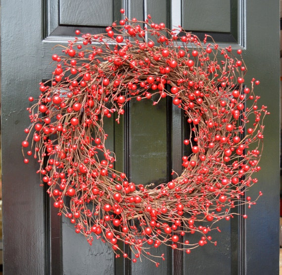 Red Berry Wreath- Berry Door Wreath- Year Round Wreath- Christmas Wreath- Winter Wreath- Fall Wreath- Red Christmas Decor