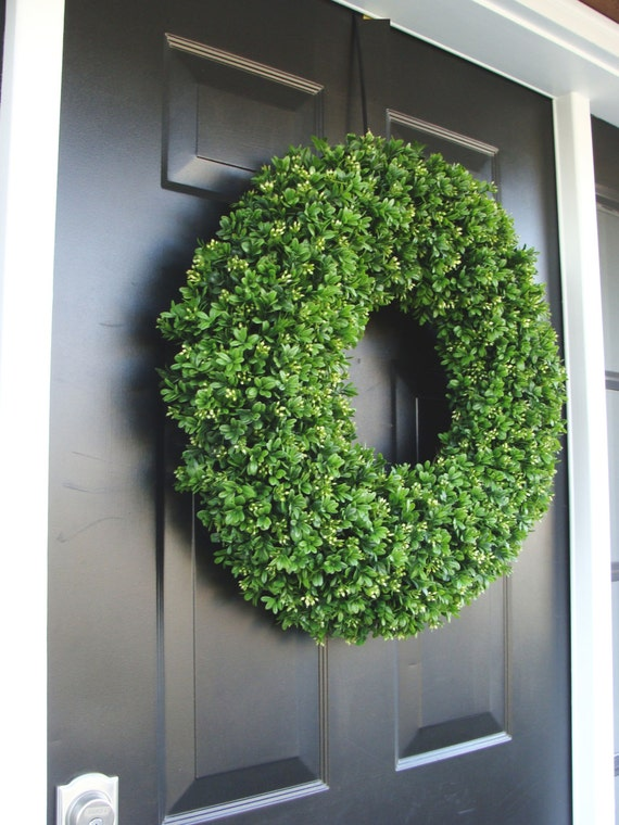 Spring Wreath, Artificial Boxwood Wreath, Wedding Wreath, Wedding Accessories, Summer Wreath, Door Wreath, Greenery 24 inch