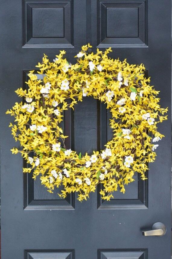 Year Round Wreath- Spring Forsythia Wreath- Forsythia Spring Wreath-Door Wreath 24 inch