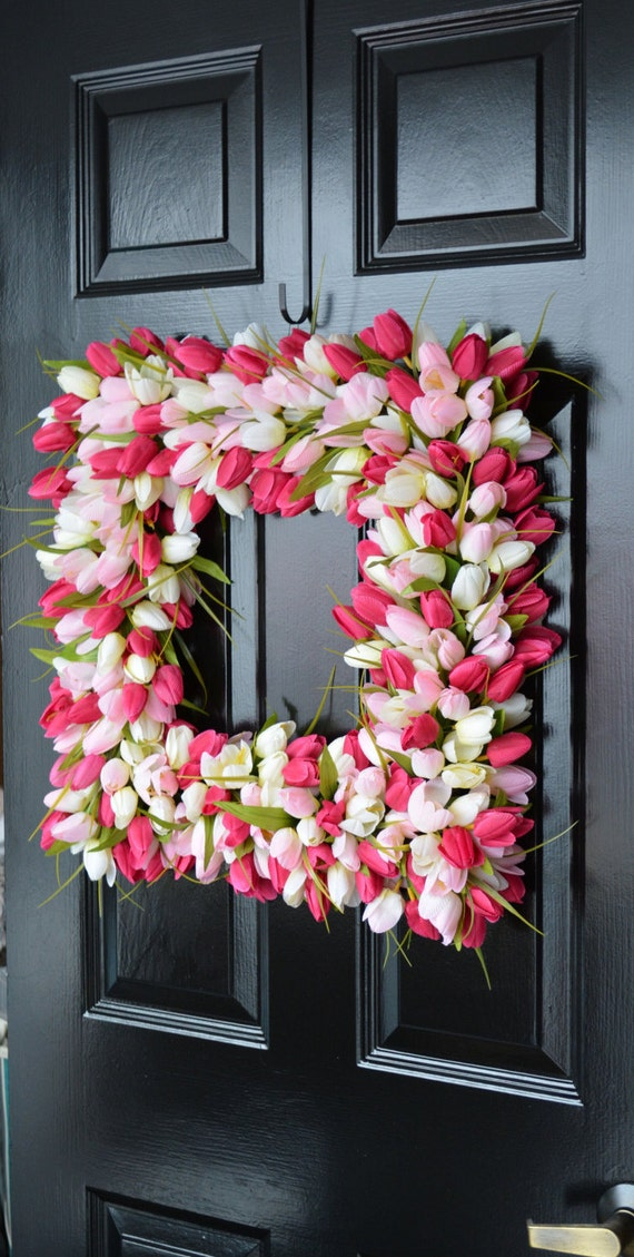 Pink Tulip Spring Wreath- Valentine's Day Square Wreath- Tulip Wreath- 20 inch shown, custom colors- The Original Tulip Wreath