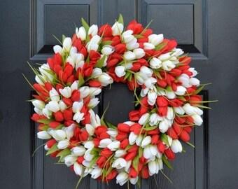 SUMMER WREATH SALE Spring Wreath- Tulip Spring Wreath- Valentine's Day Wreath- Red and White Valentine Decor