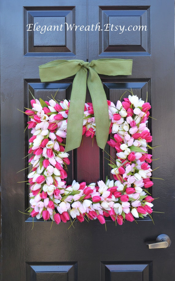 Pink Tulip Square Spring Wreath- Door Wreath- Easter Wreath- Tulip Wreath- 20 inch shown, custom colors- The Original Tulip Wreath