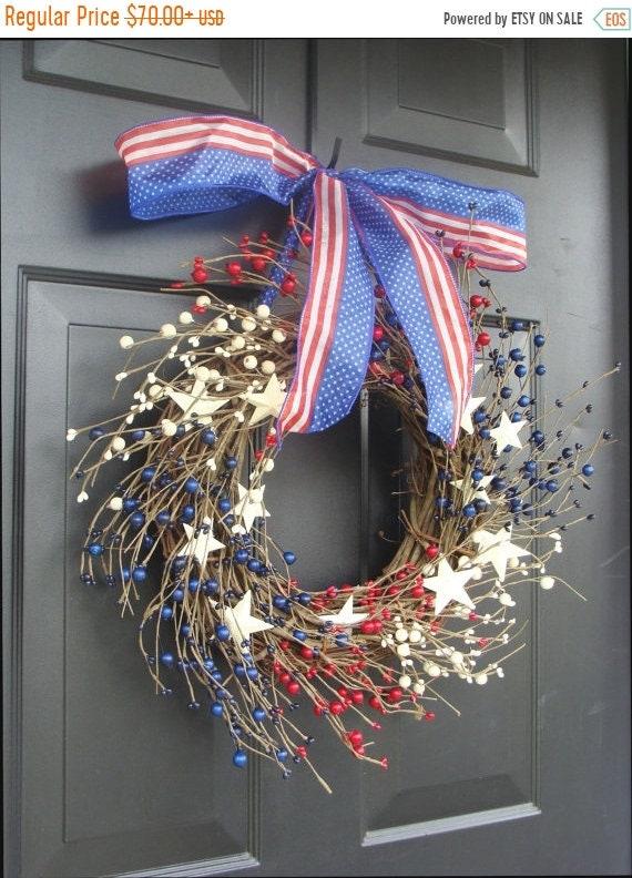 SUMMER WREATH SALE July 4th Decor, Fourth of July Wreath, July 4th Berry Wreath, Americana Patriotic Wreath, Americana Decor, Rustic Wreath,