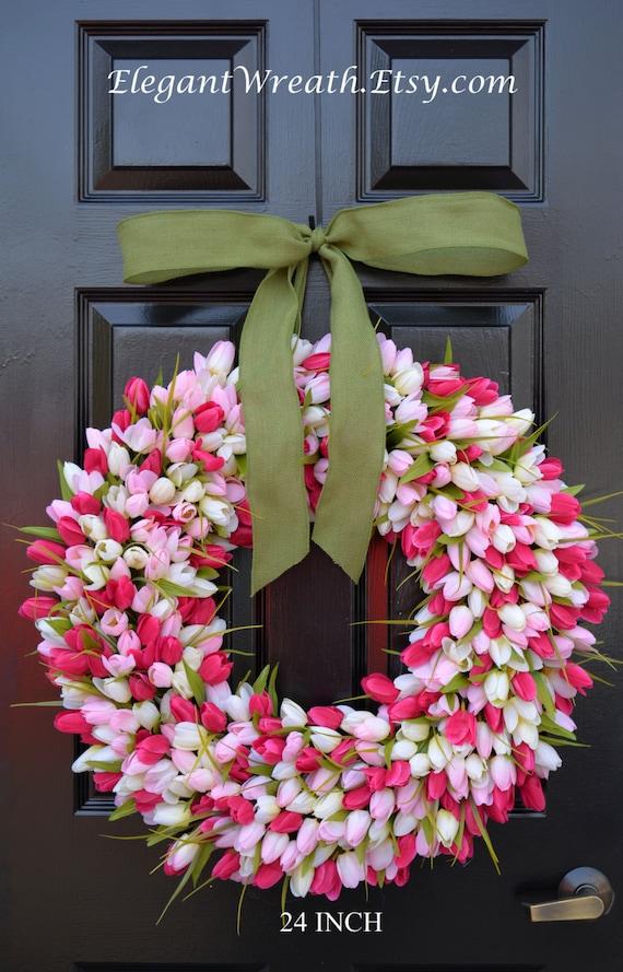 24 Inch Spring Wreath Spring Wreath Door Wreath 24 Inch Etsy