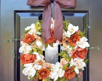 Silk Flower Wreath- Fall Flowers- Fall Wreaths- Silk Flower Wreath- Autumn Decor- Front Door Decor- Floral Wreath